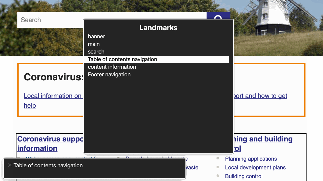 Screenshot of the VoiceOver Rotor, in Safari, show a list of landmarks for a site's homepage. Some landmarks have custom labels.