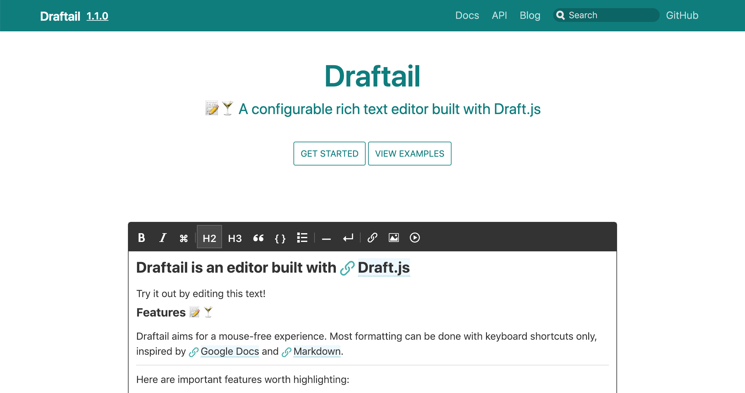 Screenshot of the draftail.org homepage
