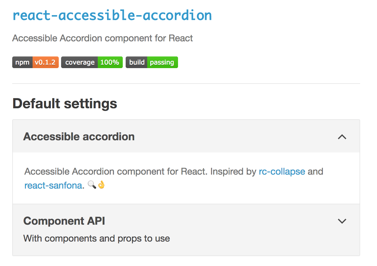 Screenshot of the react-accessible-accordion website, with a demo accordion