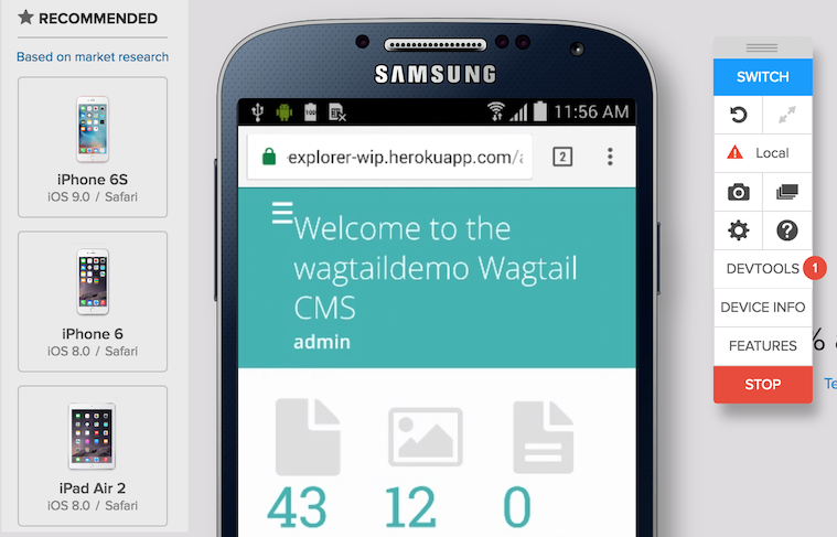 Screenshot of the Browserstack interface, testing the Wagtail admin on an Android phone