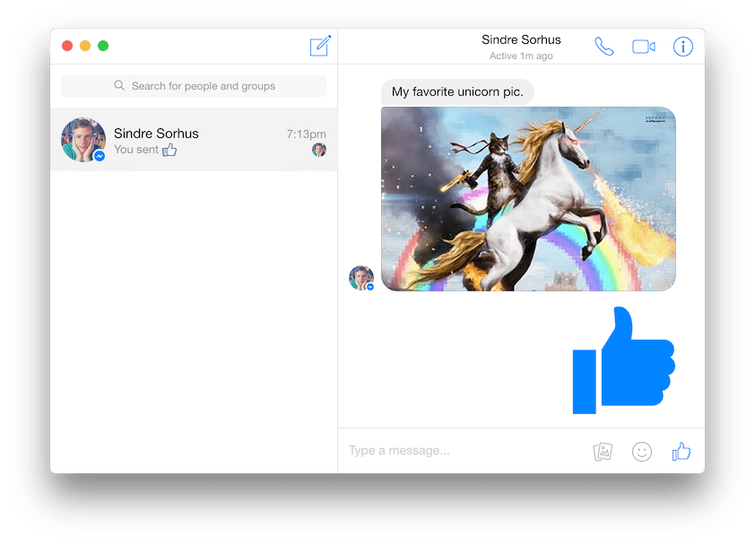 Screenshot of Caprine, a Facebook Messenger client built with Electron