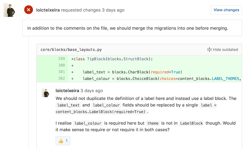Screenshot of a sample Pull Request review on GitHub