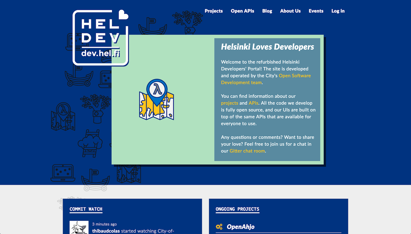 Screenshot of the developer portal's homepage