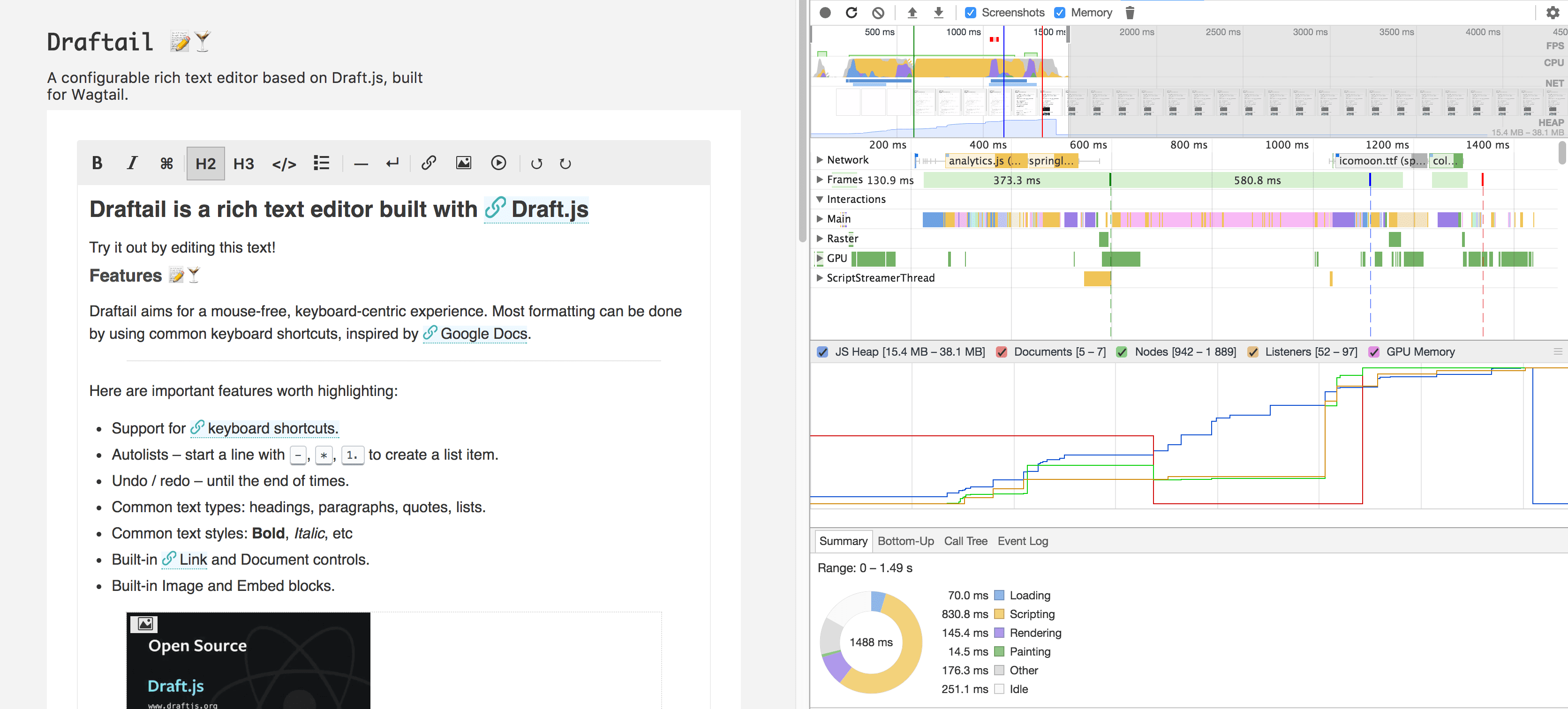 Screenshot of the Draftail demo page load profiling