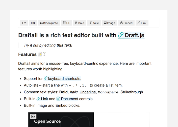 Screenshot from the Draftail demo
