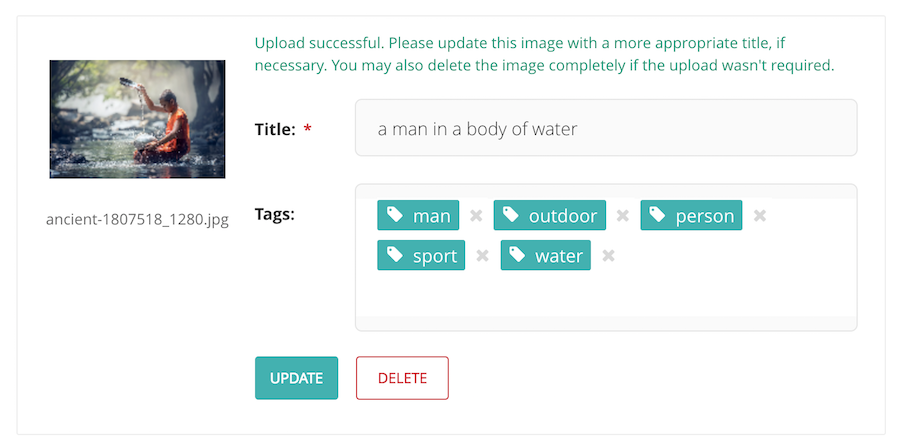 Screenshot of the Wagtail image upload, with the image title / alt text pre-filled with content describing the image – a man in a body of water