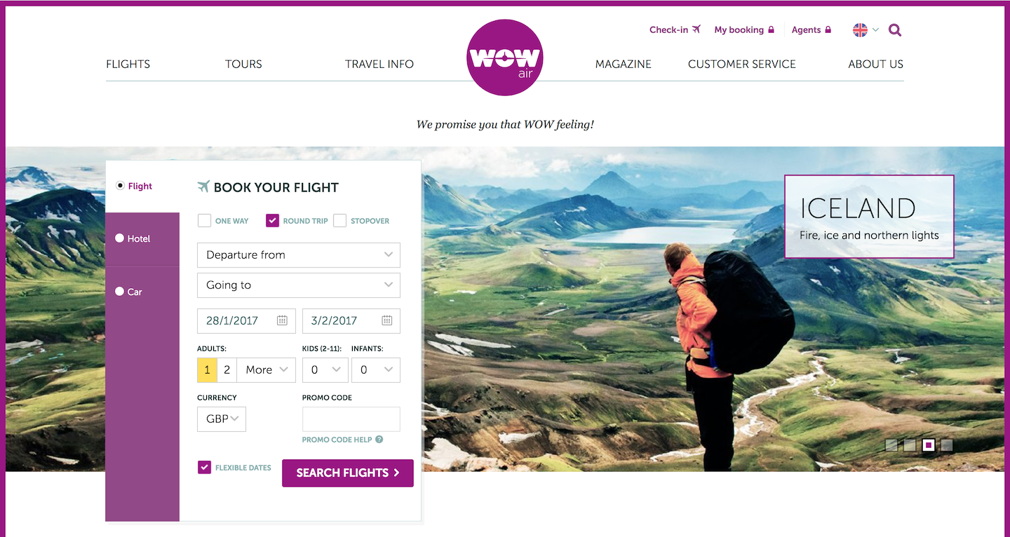 Screenshot of the WOW air homepage, with the flight booking engine